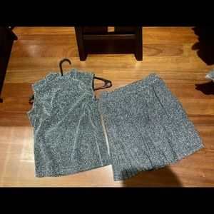 unknown Skirts - NWT silver sparkle 2 piece